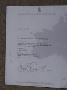 A-Team Corvette - Brief von Stephen J. Cannell